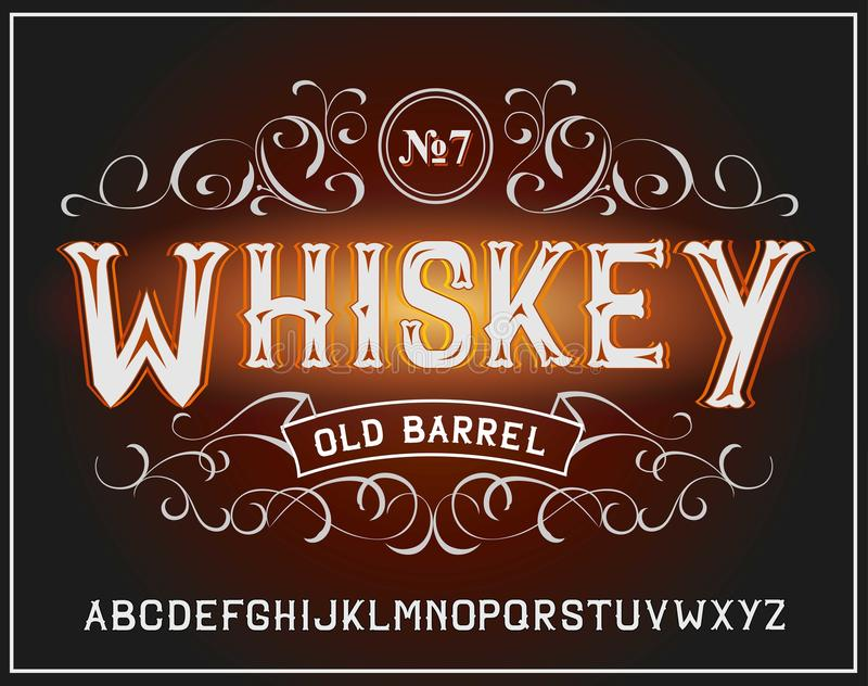 Police de label de vintage de vecteur Style de whiskey illustration stock