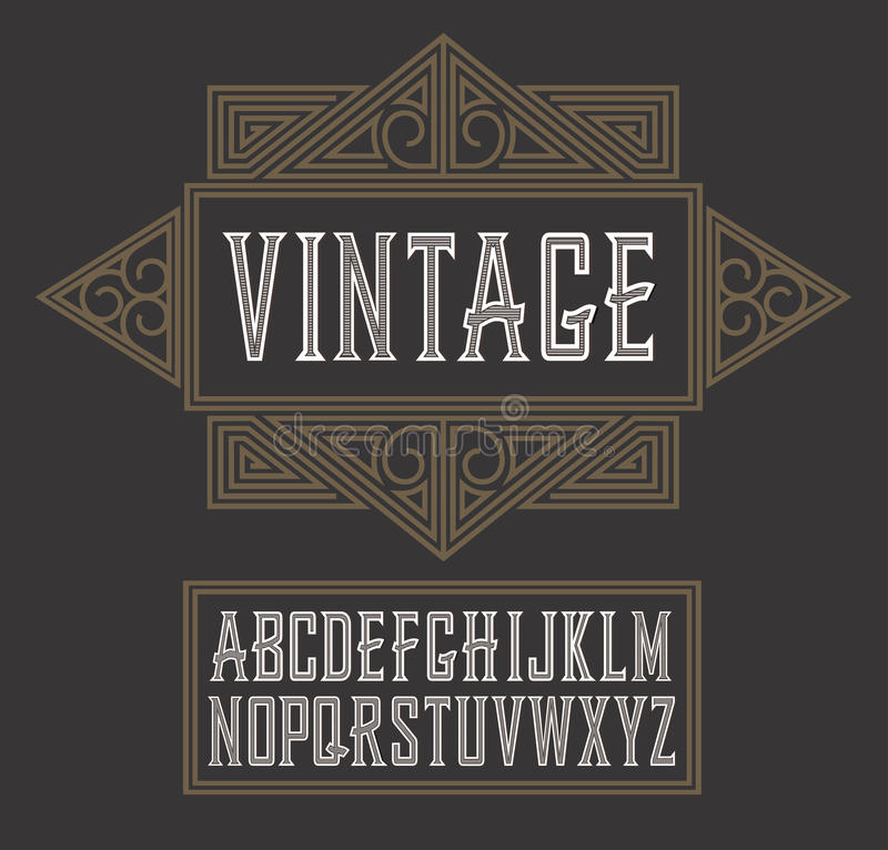 Police de label de vintage de vecteur, style moderne Style de label de whiskey illustration de vecteur
