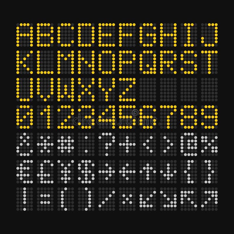 Police de LED Digital sur le fond noir pour le panneau d'aéroport Vecteur illustration libre de droits