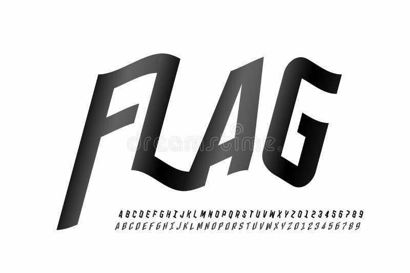 Police de ondulation de style de drapeau photos libres de droits