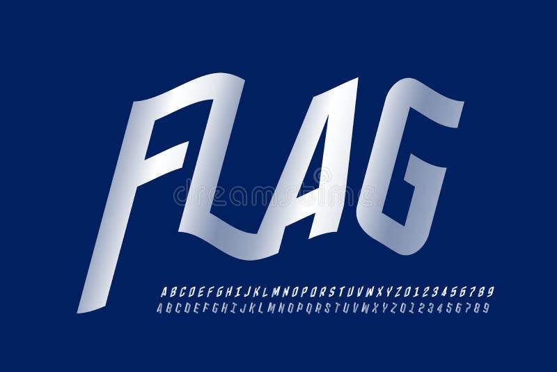 Police de ondulation de style de drapeau images libres de droits