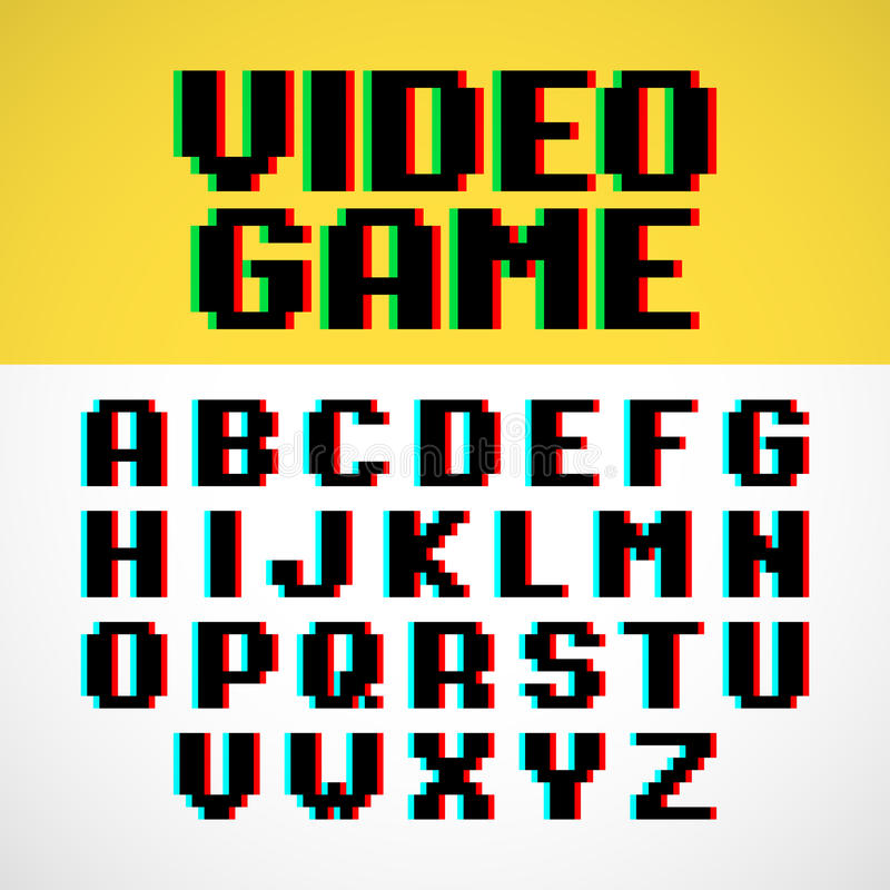 Police de pixel de jeu vidéo illustration libre de droits