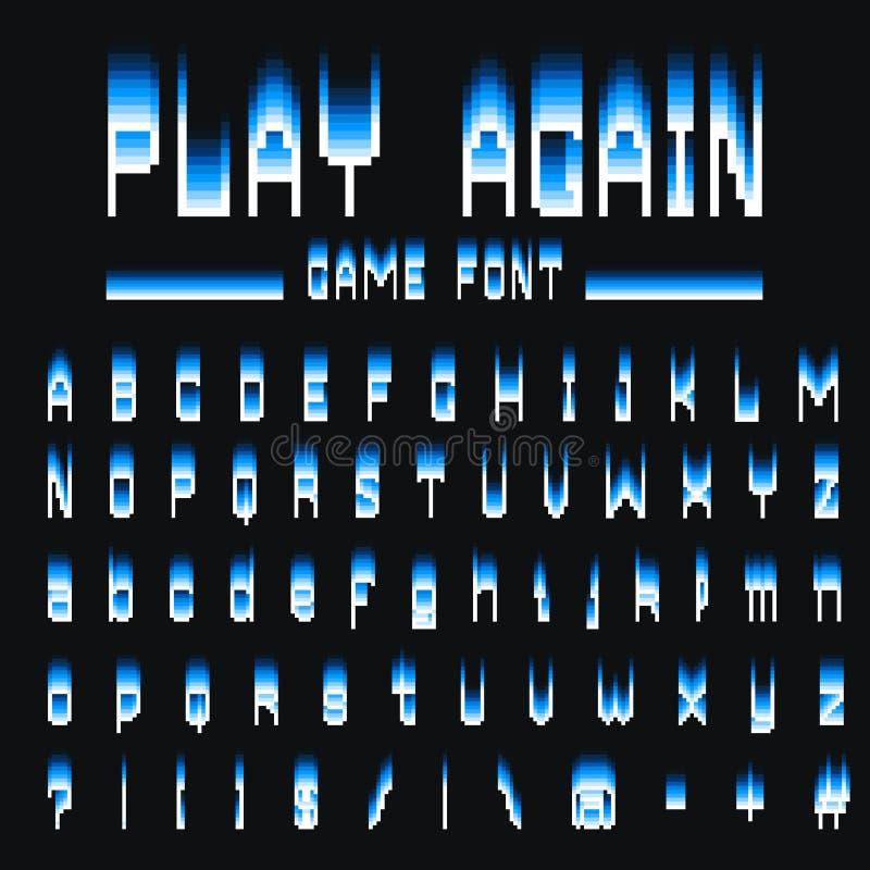 Police de pixel symboles à 8 bits Style de jeu vidéo de Digital Lettres et nombres Rétro ABC d'oeil d'un caractère en cru Ordinat illustration libre de droits
