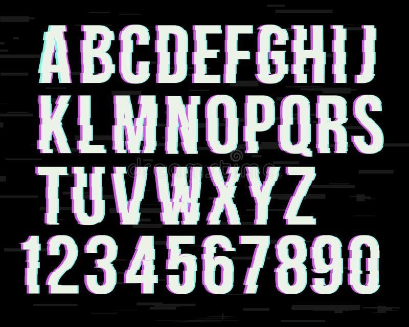 Police de probl?me sur l'effet tordu Lettres latines d'A ? Z et ? nombres de 0 ? 9 Canaux verts et rouges illustration de vecteur