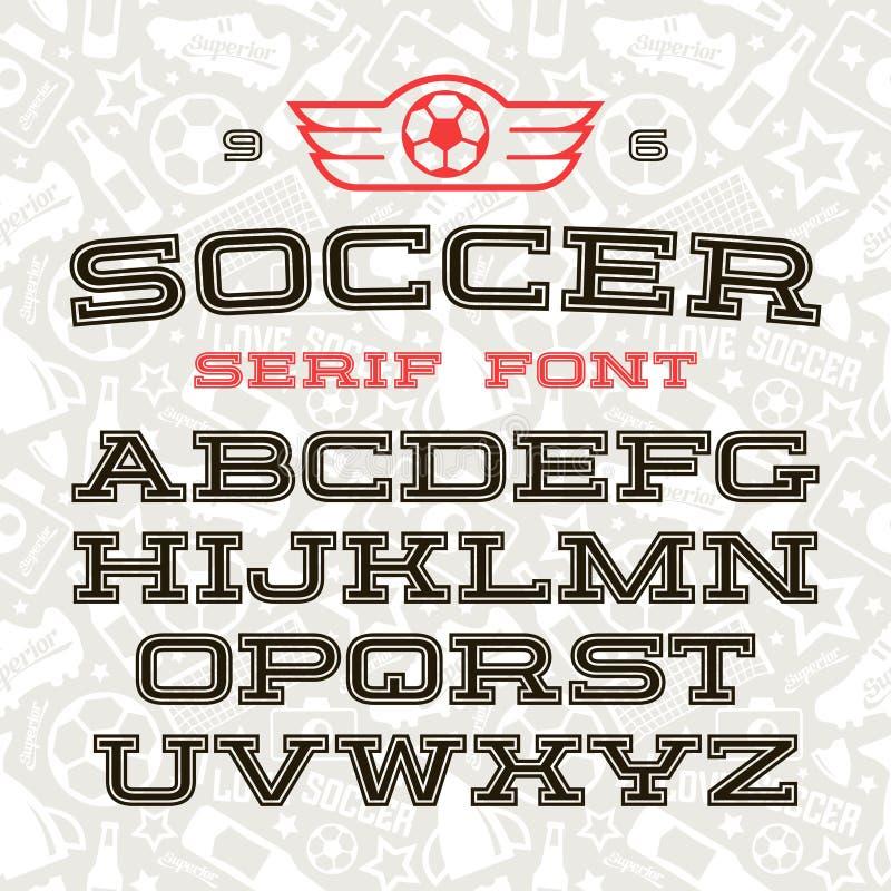 Police de Serif dans le style de sport illustration de vecteur