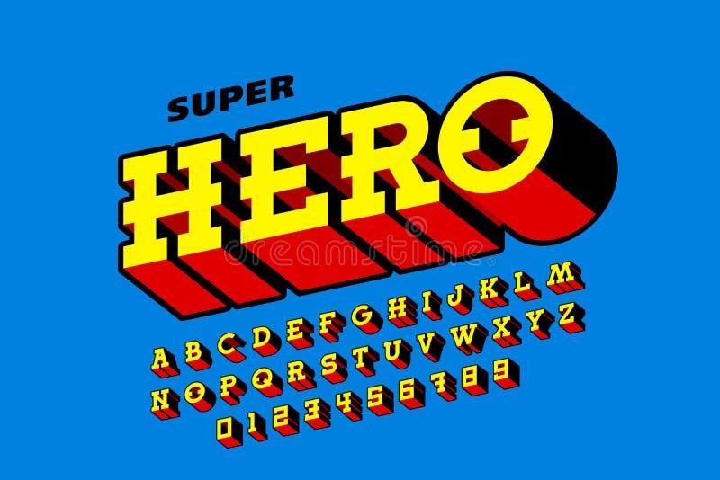Police de style de bandes dessinées, alphabet de superhéros illustration stock