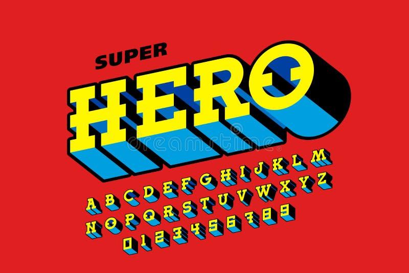 Police de style de bandes dessinées, alphabet de superhéros illustration libre de droits
