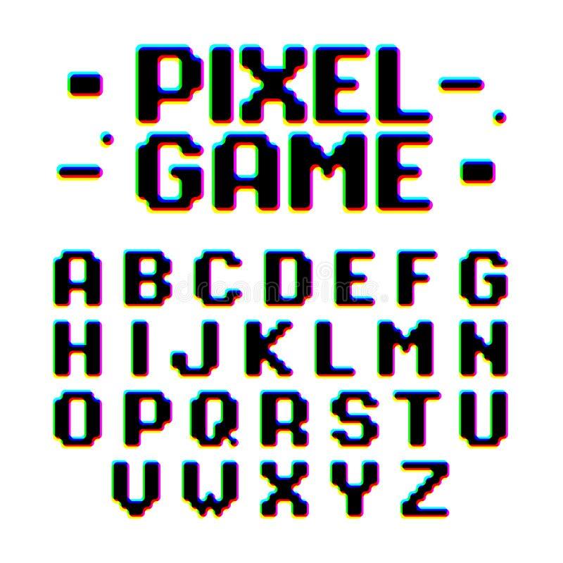 Police de style de jeu de pixel rétro illustration stock