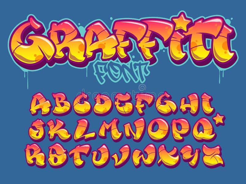 Police de style de graffiti Alphabet orange et jaune de vecteur de couleurs illustration de vecteur
