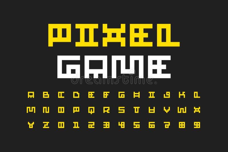Police de style de jeu vidéo de pixel illustration libre de droits