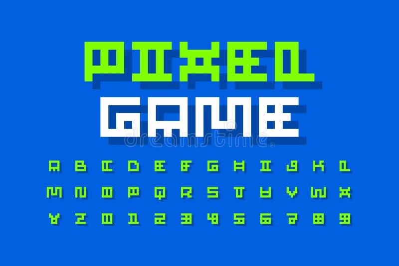 Police de style de jeu vidéo de pixel illustration de vecteur