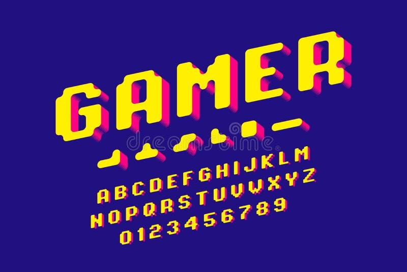 Police de style de pixel illustration libre de droits