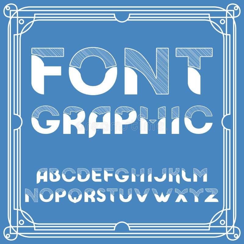 Police de vecteur ciselée d'alphabet Ensemble typographique de conception illustration stock