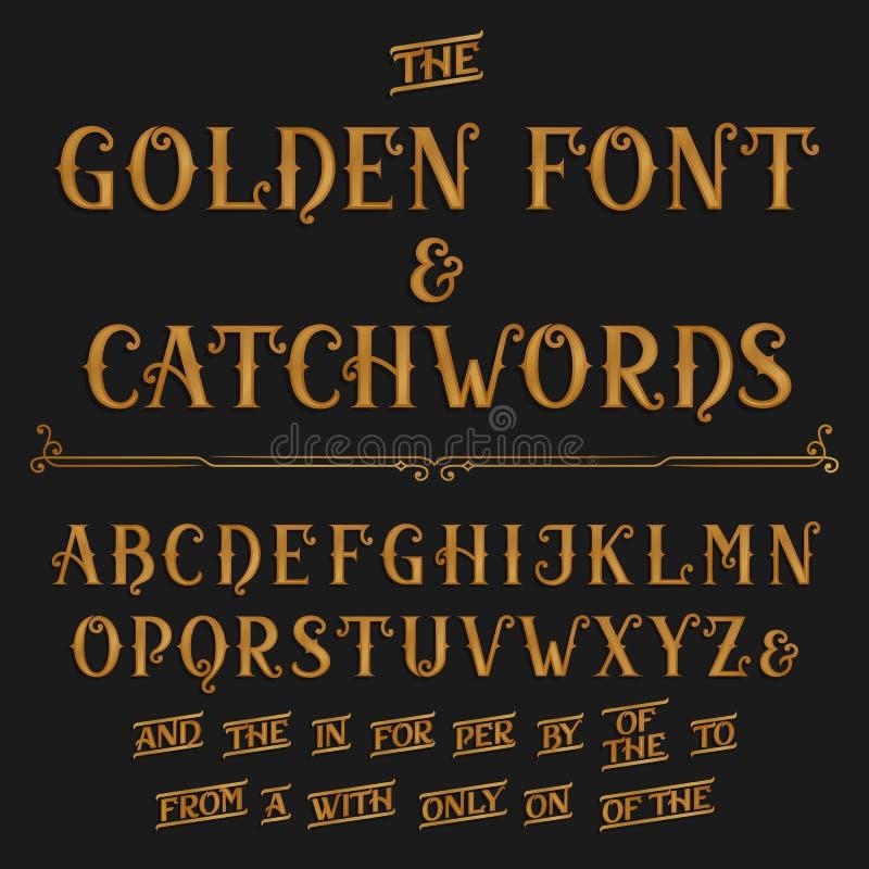 Police de vecteur d'alphabet de vintage avec des mots de ralliement Lettres et mots de ralliement fleuris d'or illustration de vecteur