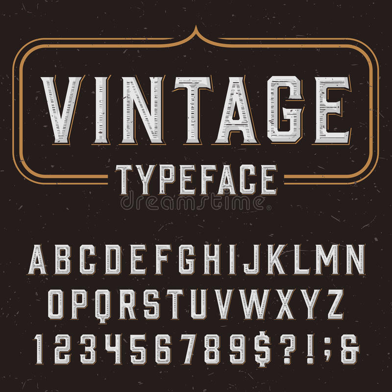 Police de vecteur d'alphabet de vintage avec la texture affligée de recouvrement illustration libre de droits