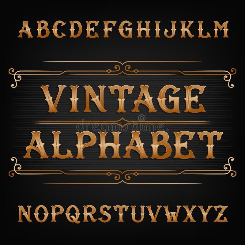 Police de vecteur d'alphabet de vintage Type fleuri lettres dans la couleur d'or illustration libre de droits