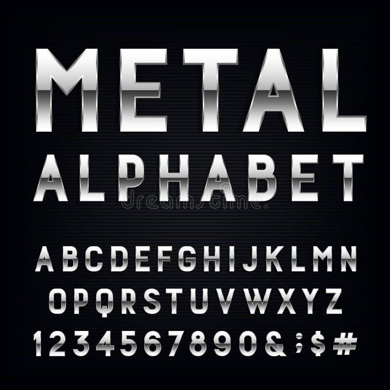 Police de vecteur d'alphabet en métal illustration de vecteur
