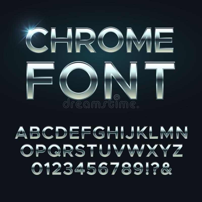 Police de vecteur en métal de Chrome Lettres métalliques en acier d'alphabet illustration libre de droits
