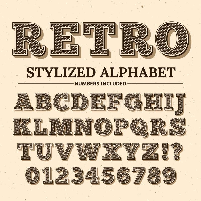 Police de vecteur de typographie de vintage Rétro alphabet décoratif Vieux lettres et nombres occidentaux de style illustration stock