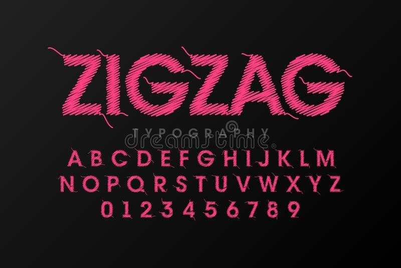 Police de zigzag piquée avec le fil illustration de vecteur