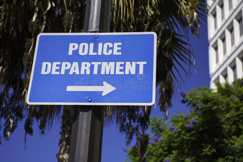 Police Department sign. Directing you to the Police Department royalty free stock photo
