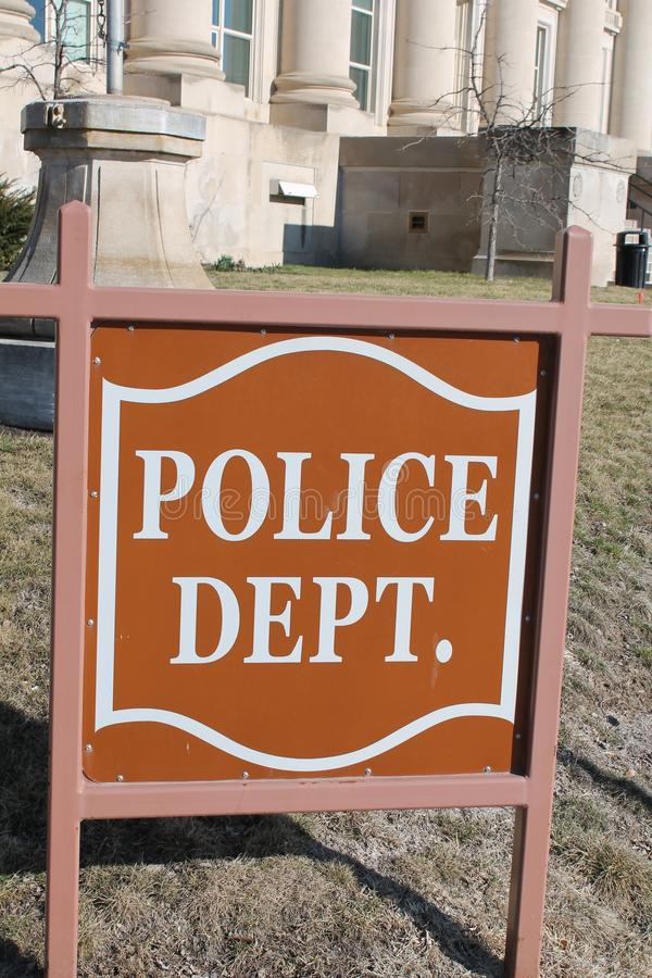 Police Department Sign. Outside of police station stock photography