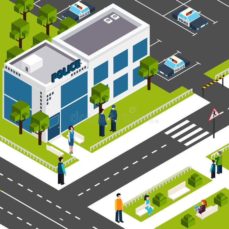 Police department station isometric poster. Police department station building street view with parking lot and surroundings background poster isometric abstract royalty free illustration