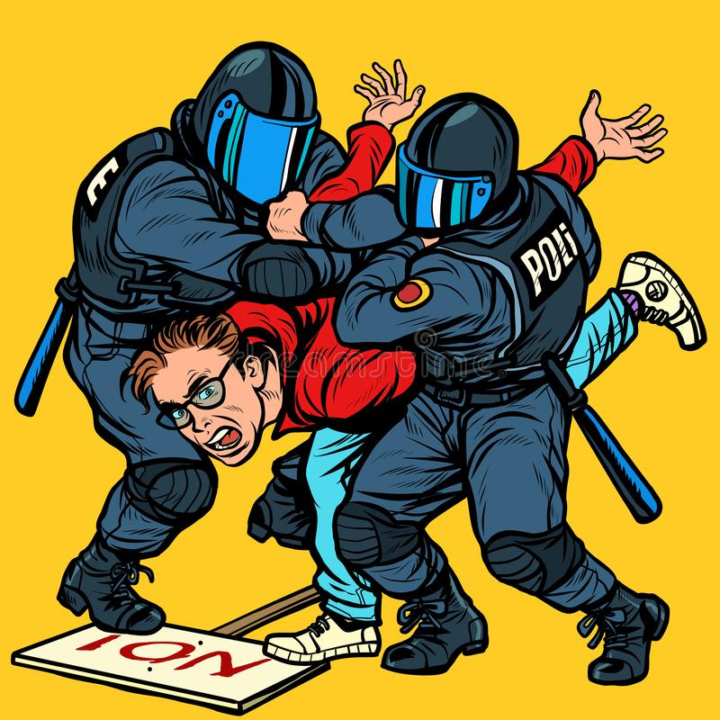 Police detain a protester, the violence against the opposition. Pop art retro vector Illustrator vintage kitsch drawing vector illustration
