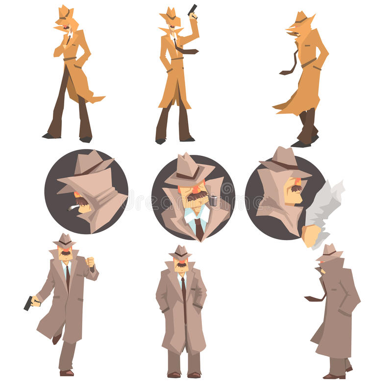 Police Detective And Private Investigator At Work Investigating And Solving Crimes Set Of Undercover Portraits stock illustration