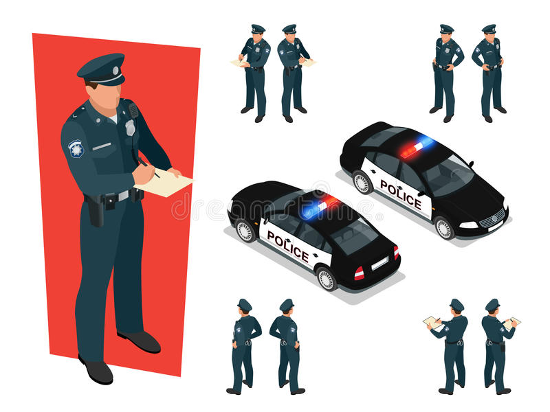 Police-dirigeant isométrique dans l'uniforme et la voiture de police Illustration de vecteur sur le fond blanc Illustration pour  illustration libre de droits