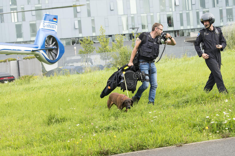 Police dog pick up the scent. Man-trailer dog working with policeman in front of German Police helicopter - North Rhine-Westphalia, NRW stock photos