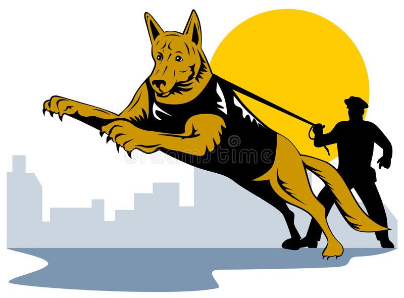 Police dog with policeman stock illustration