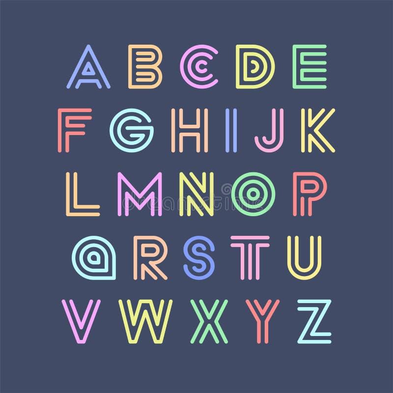 Police drôle rayée colorée Alphabet anglais de vecteur dans le rétro style Lettres latines espiègles illustration libre de droits