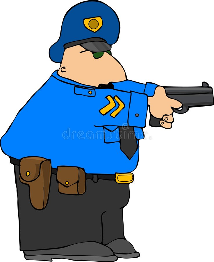 Police Draw Down stock illustration