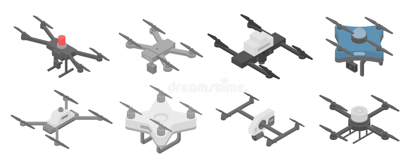 Police drone icons set, isometric style royalty free illustration