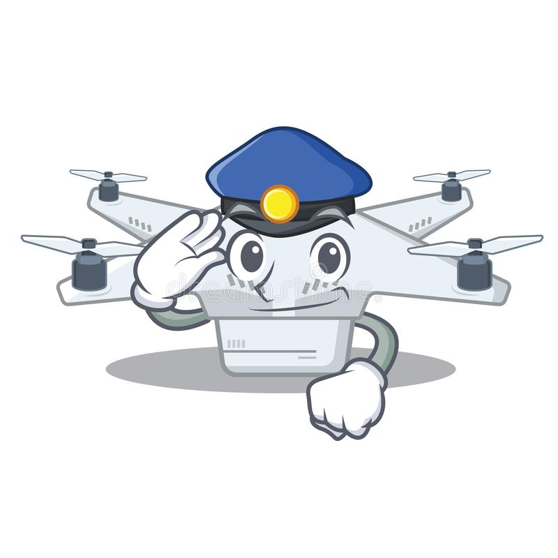 Police drone isolated with in the mascot stock illustration