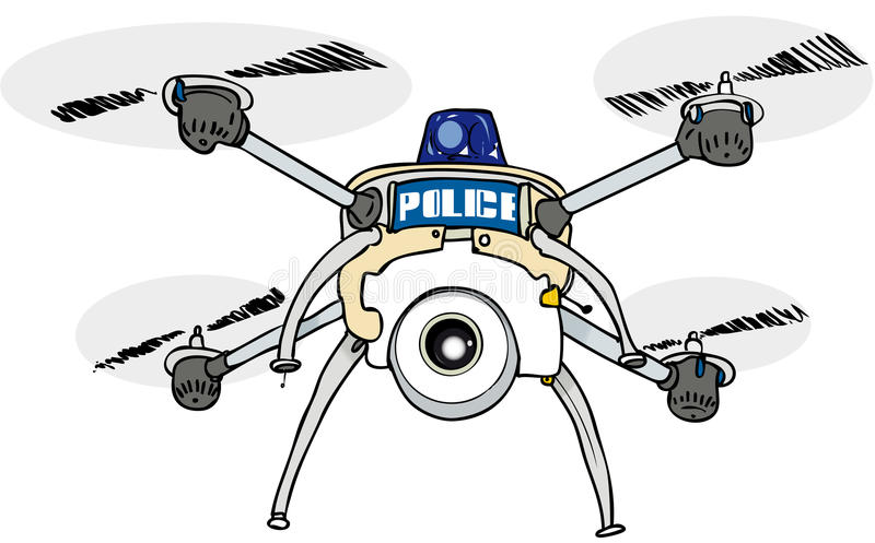 Police drone with blue light stock illustration
