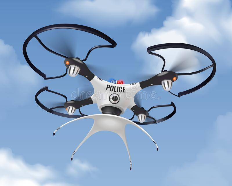 Police Drone Realistic In Sky Composition royalty free illustration