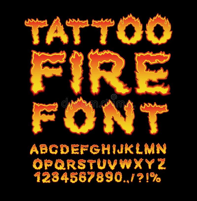 Police du feu de tatouage Alphabet de flamme Lettres ardentes ABC brûlant Ho illustration de vecteur