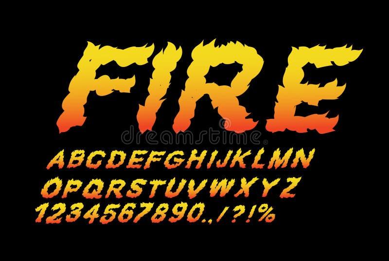 Police du feu Flamme ABC Lettres ardentes Alphabet brûlant Typog chaud illustration de vecteur