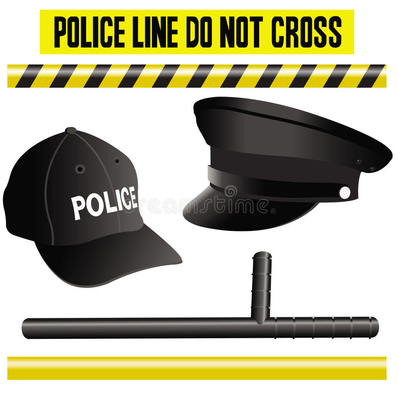 Police elements collection, hat, bat and signals. This image represents a collection with police related items like hats, bat and different types of signals stock illustration