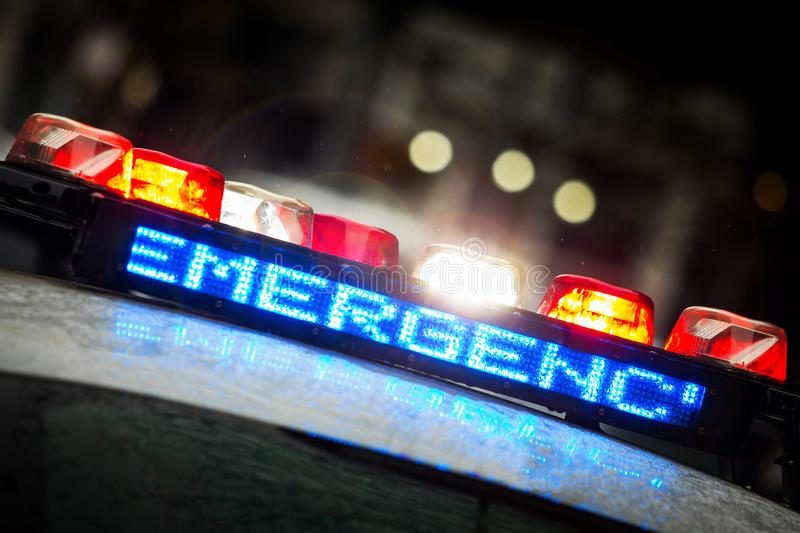 Police emergency lights with warning text. Close up display royalty free stock images