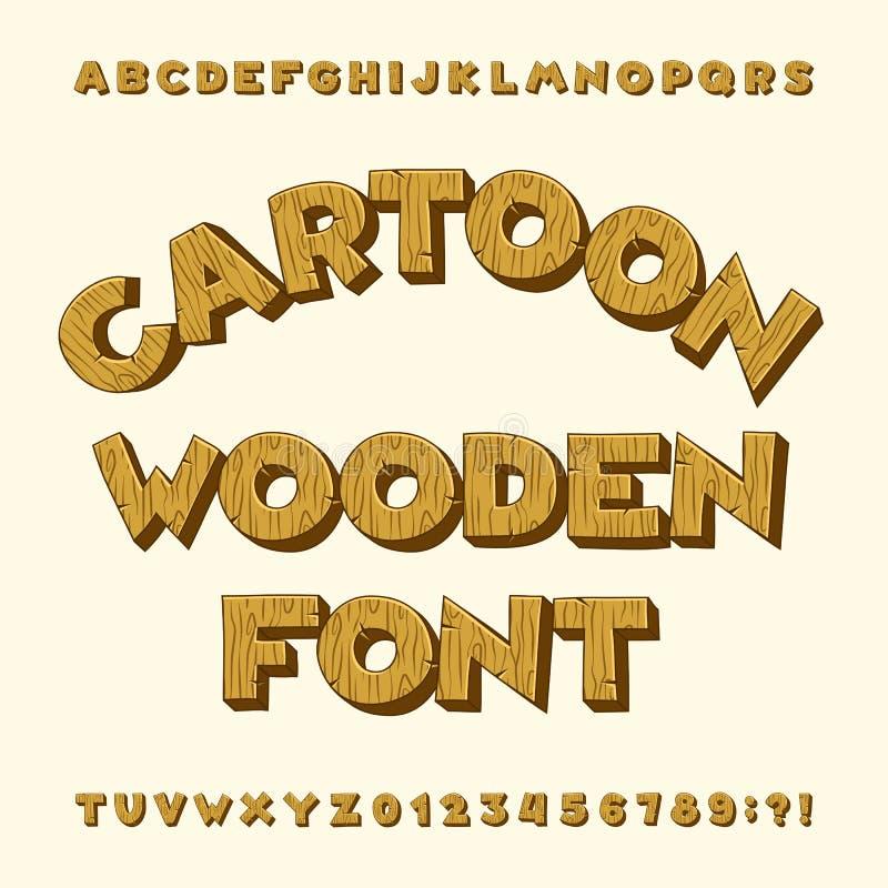 Police en bois d'alphabet de bande dessinée Dactylographiez les lettres, nombres, symboles illustration stock