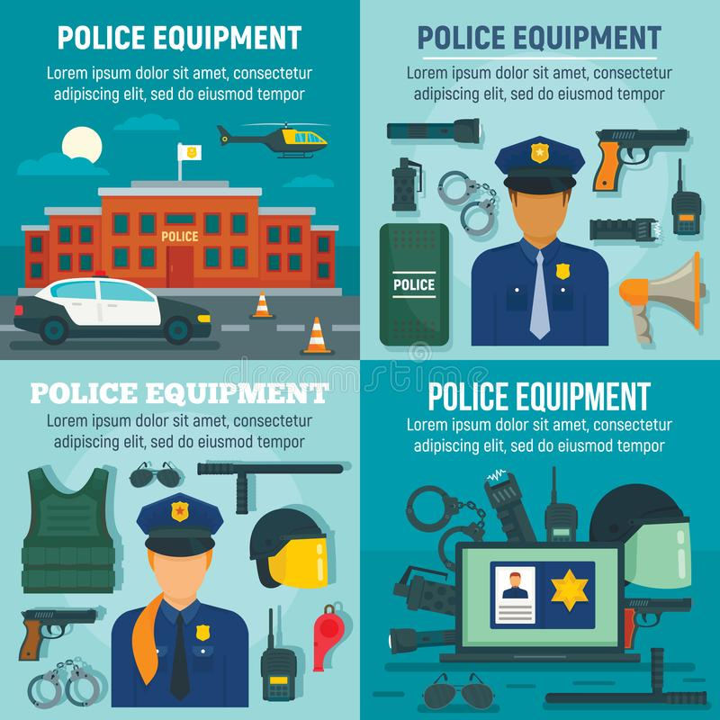 Police equipment banner set, flat style royalty free illustration