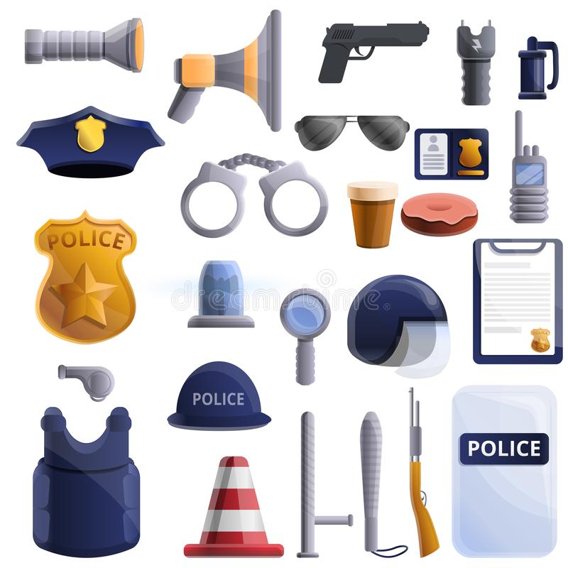Police equipment icons set, cartoon style vector illustration