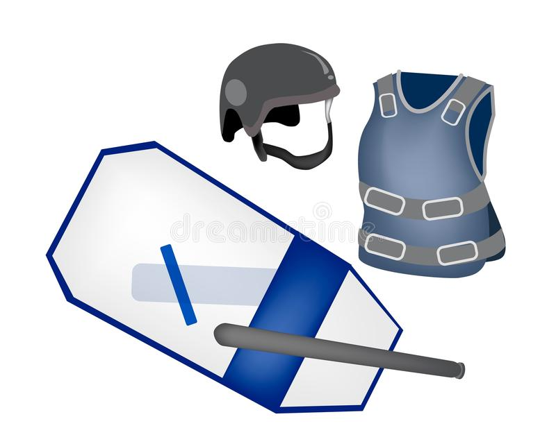 Police Equipment and Police Uniform on White Backg. Security Concept, An Illustration of Police Equipment and Police Uniform, Nightstick, Shield, Helmet and royalty free illustration