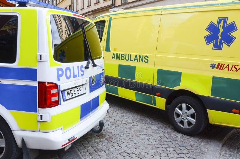Police et services médicaux, Stockholm, Suède photos libres de droits