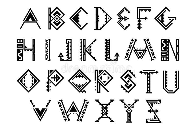Police ethnique Ensemble indien indigène de vecteur d'alphabet illustration libre de droits