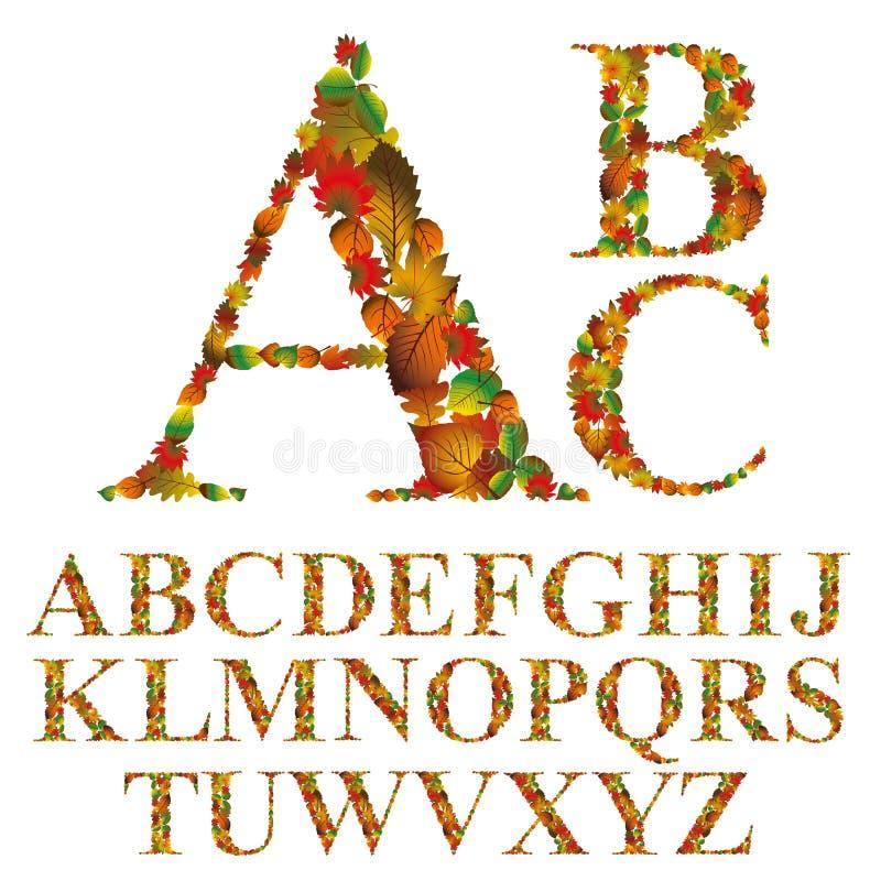 Police faite avec des feuilles, lettres florales d'alphabet réglées illustration stock