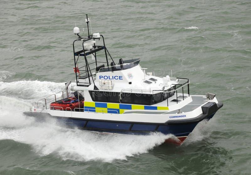 Police fast cat coastal patrol stock photos